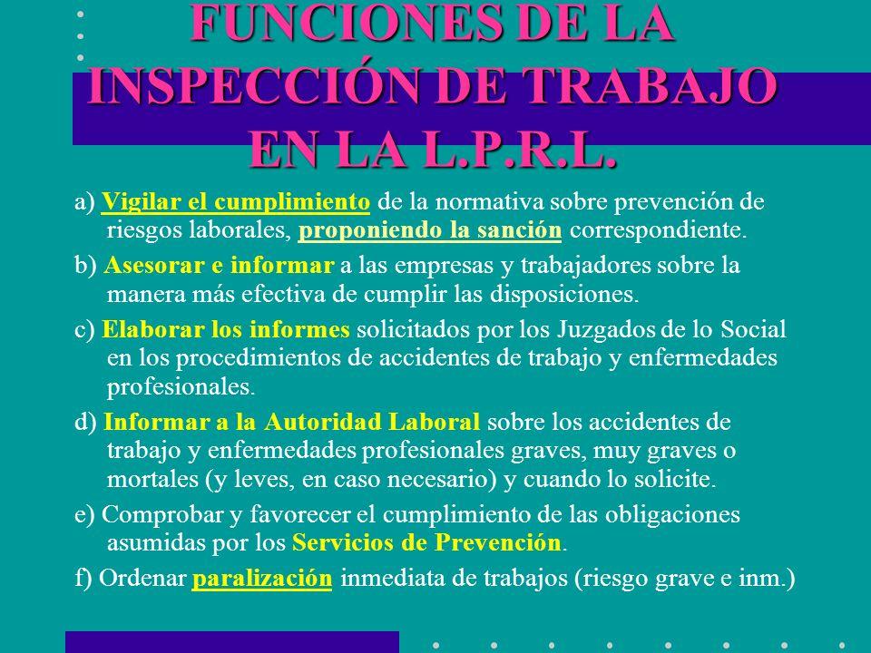 FUNCIONES DE LA INSPECCIÓN DE TRABAJO EN LA L.P.R.L. a) Vigilar el cumplimiento de la normativa sobre prevención de riesgos laborales, proponiendo la