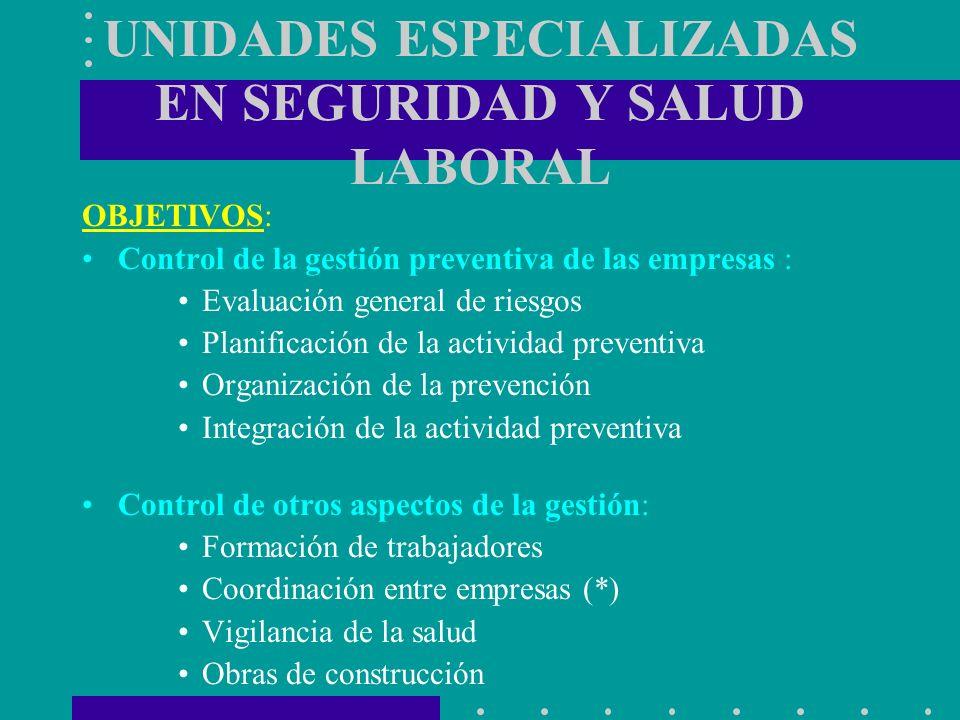 UNIDADES ESPECIALIZADAS EN SEGURIDAD Y SALUD LABORAL OBJETIVOS: Control de la gestión preventiva de las empresas : Evaluación general de riesgos Plani