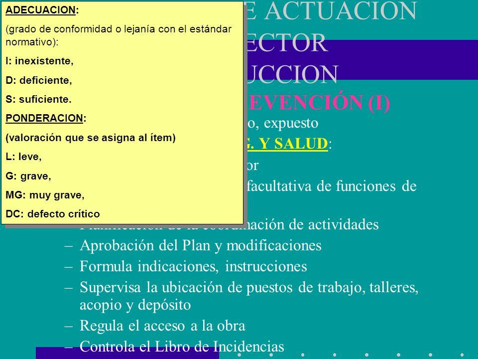 PROTOCOLO DE ACTUACION EN EL SECTOR CONSTRUCCION SISTEMA DE PREVENCIÓN (I) AVISO PREVIO: actualizado, expuesto COORDINACIÓN DE SEG. Y SALUD: –Designac