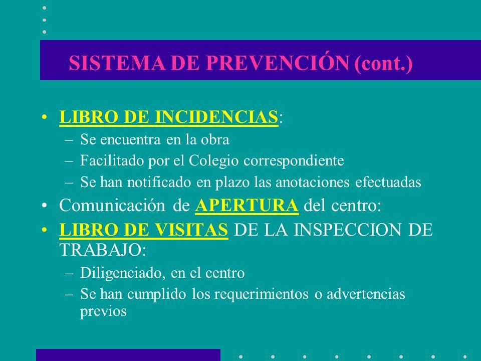 SISTEMA DE PREVENCIÓN (cont.) LIBRO DE INCIDENCIAS: –Se encuentra en la obra –Facilitado por el Colegio correspondiente –Se han notificado en plazo la