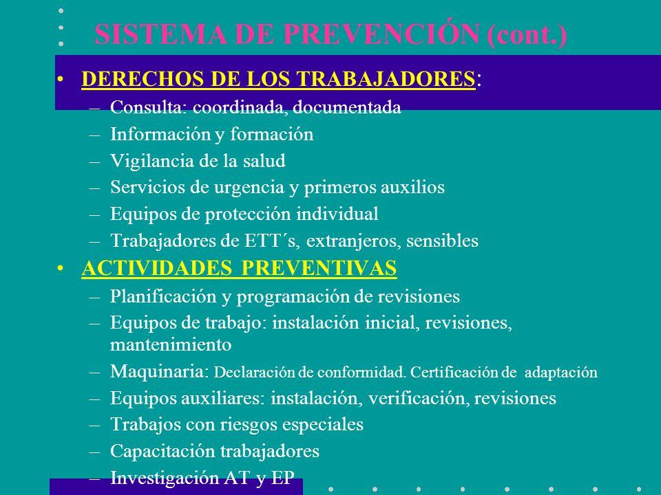 SISTEMA DE PREVENCIÓN (cont.) DERECHOS DE LOS TRABAJADORES : –Consulta: coordinada, documentada –Información y formación –Vigilancia de la salud –Serv