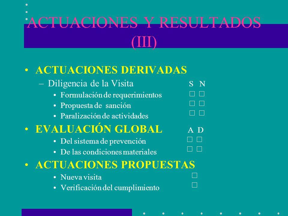ACTUACIONES Y RESULTADOS (III) ACTUACIONES DERIVADAS –Diligencia de la Visita S N Formulación de requerimientos Propuesta de sanción Paralización de a