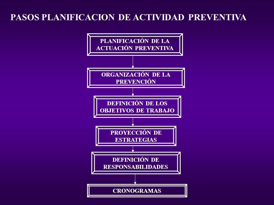 PLANIFICACIÓN DE LA ACTUACIÓN PREVENTIVA ORGANIZACIÓN DE LA PREVENCIÓN DEFINICIÓN DE LOS OBJETIVOS DE TRABAJO PROYECCIÓN DE ESTRATEGIAS DEFINICIÓN DE