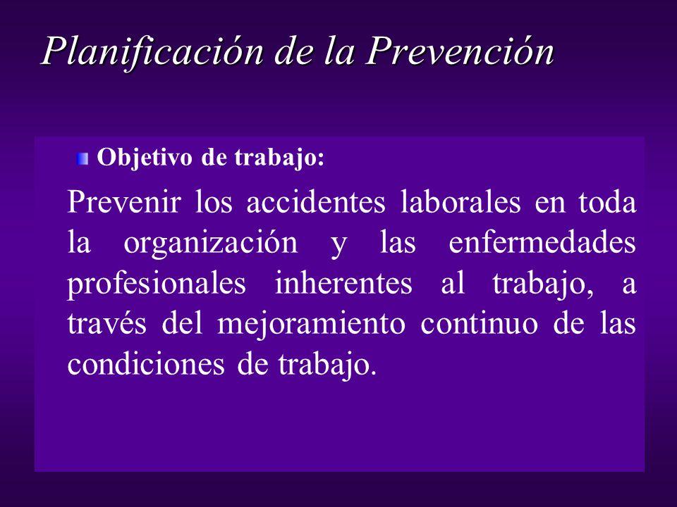 Objetivo de trabajo: Prevenir los accidentes laborales en toda la organización y las enfermedades profesionales inherentes al trabajo, a través del me