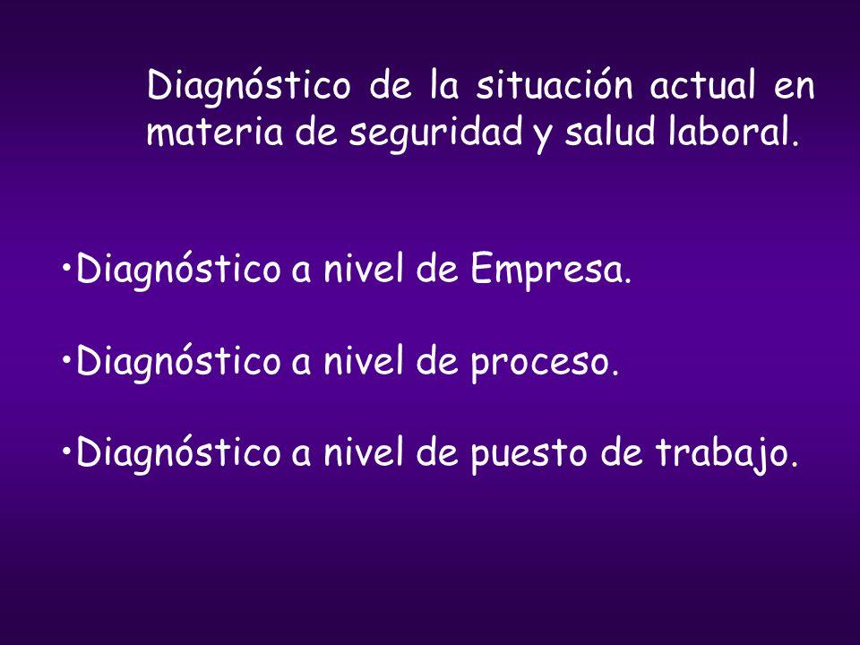 Diagnóstico de la situación actual en materia de seguridad y salud laboral. Diagnóstico a nivel de Empresa. Diagnóstico a nivel de proceso. Diagnóstic