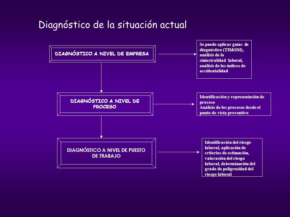 DIAGNÓSTICO A NIVEL DE EMPRESA DIAGNÓSTICO A NIVEL DE PROCESO DIAGNÓSTICO A NIVEL DE PUESTO DE TRABAJO Se puede aplicar guías de diagnóstico (TH&SM),