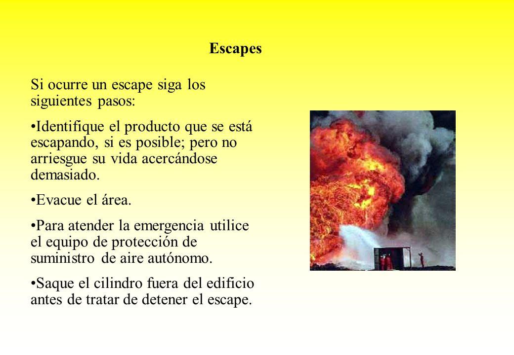 Escapes Si ocurre un escape siga los siguientes pasos: Identifique el producto que se está escapando, si es posible; pero no arriesgue su vida acercán