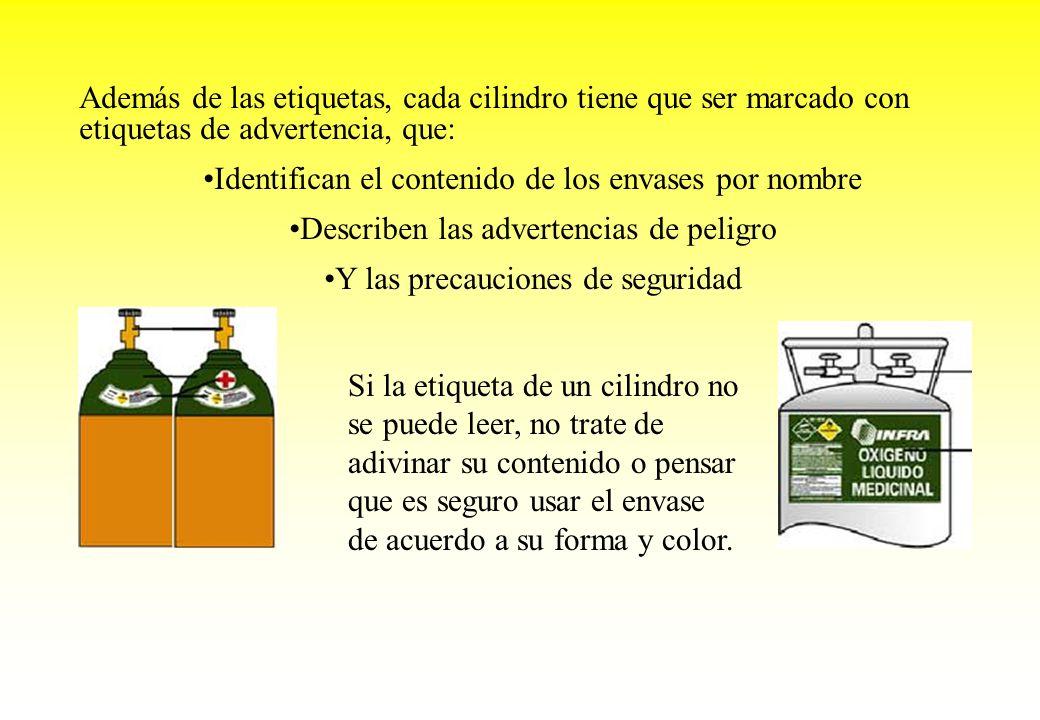 Además de las etiquetas, cada cilindro tiene que ser marcado con etiquetas de advertencia, que: Identifican el contenido de los envases por nombre Des