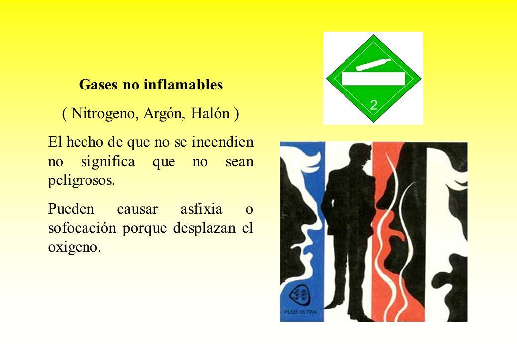 Gases no inflamables ( Nitrogeno, Argón, Halón ) El hecho de que no se incendien no significa que no sean peligrosos. Pueden causar asfixia o sofocaci