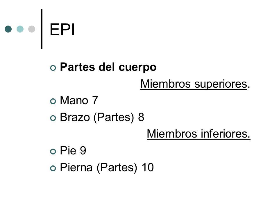 EPI Partes del cuerpo Miembros superiores. Mano 7 Brazo (Partes) 8 Miembros inferiores. Pie 9 Pierna (Partes) 10