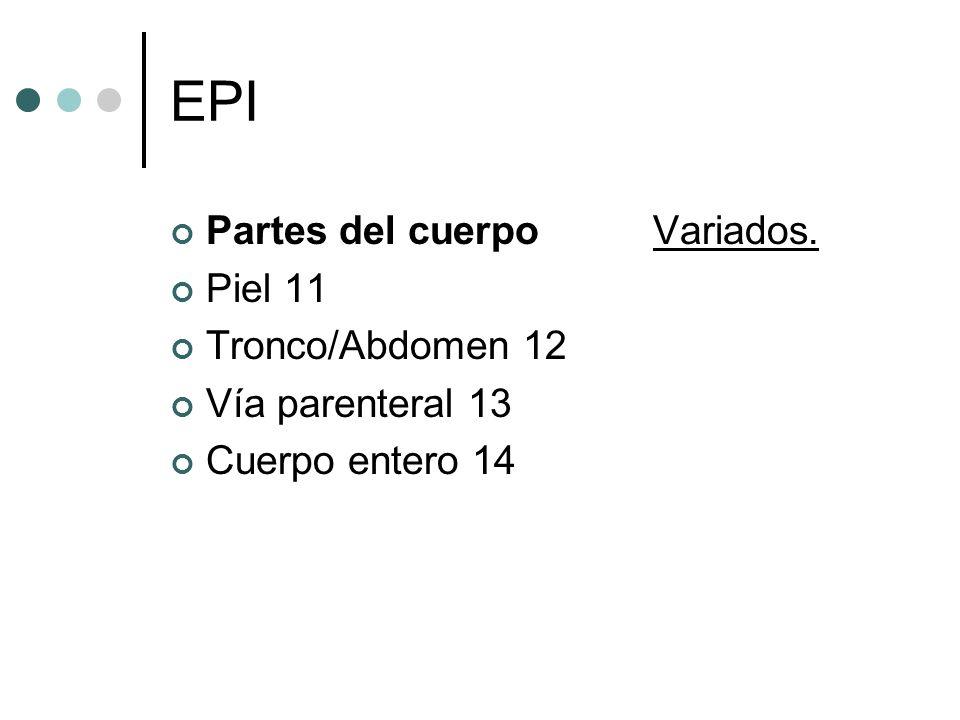 EPI Partes del cuerpo Variados. Piel 11 Tronco/Abdomen 12 Vía parenteral 13 Cuerpo entero 14