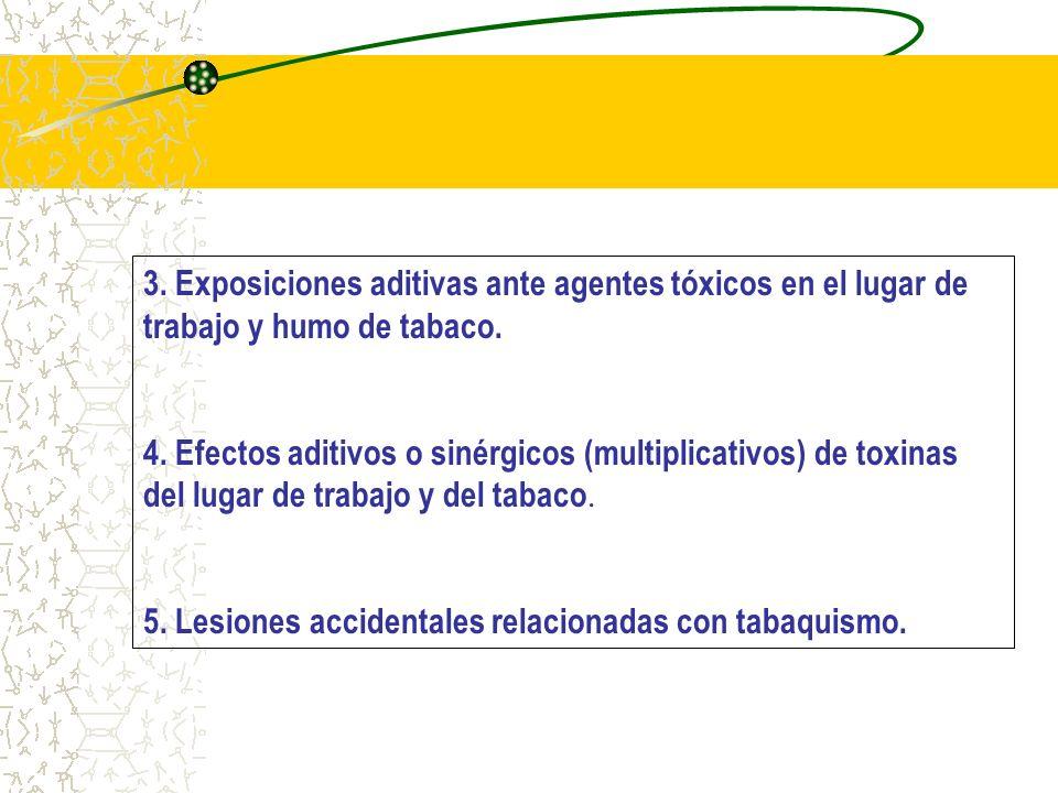 3. Exposiciones aditivas ante agentes tóxicos en el lugar de trabajo y humo de tabaco. 4. Efectos aditivos o sinérgicos (multiplicativos) de toxinas d