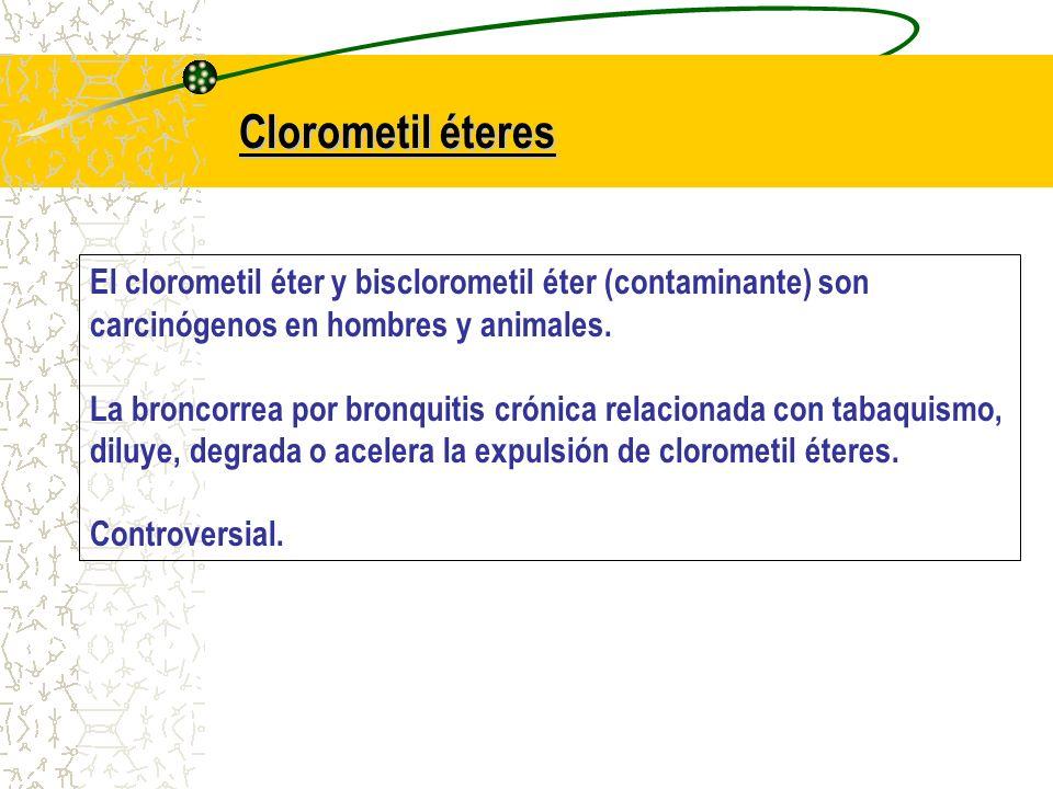 Clorometil éteres El clorometil éter y bisclorometil éter (contaminante) son carcinógenos en hombres y animales. La broncorrea por bronquitis crónica