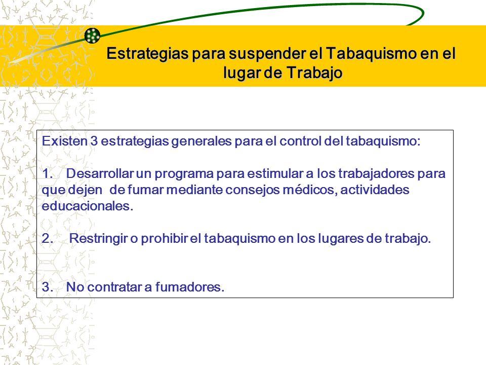 Estrategias para suspender el Tabaquismo en el lugar de Trabajo Existen 3 estrategias generales para el control del tabaquismo: 1.Desarrollar un progr