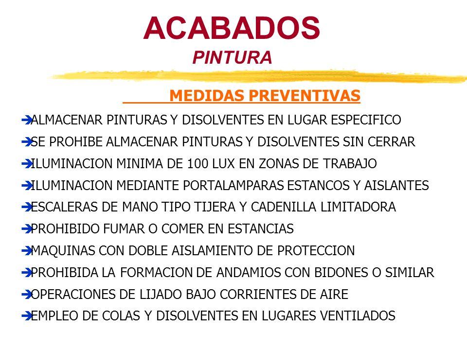 ACABADOS PINTURA MEDIDAS PREVENTIVAS ALMACENAR PINTURAS Y DISOLVENTES EN LUGAR ESPECIFICO SE PROHIBE ALMACENAR PINTURAS Y DISOLVENTES SIN CERRAR ILUMI