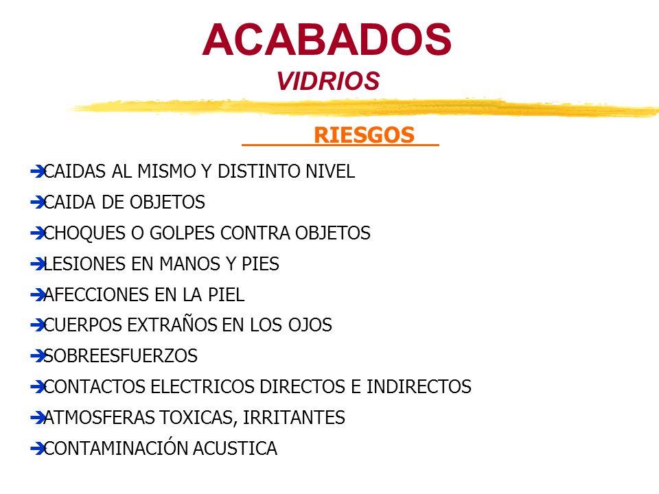 ACABADOS VIDRIOS RIESGOS CAIDAS AL MISMO Y DISTINTO NIVEL CAIDA DE OBJETOS CHOQUES O GOLPES CONTRA OBJETOS LESIONES EN MANOS Y PIES AFECCIONES EN LA P