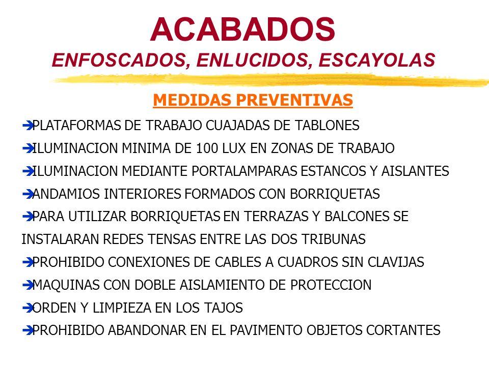 ACABADOS ENFOSCADOS, ENLUCIDOS, ESCAYOLAS MEDIDAS PREVENTIVAS PLATAFORMAS DE TRABAJO CUAJADAS DE TABLONES ILUMINACION MINIMA DE 100 LUX EN ZONAS DE TR
