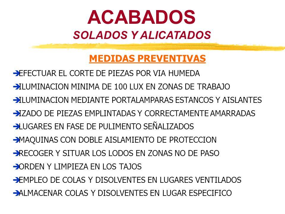 ACABADOS SOLADOS Y ALICATADOS MEDIDAS PREVENTIVAS EFECTUAR EL CORTE DE PIEZAS POR VIA HUMEDA ILUMINACION MINIMA DE 100 LUX EN ZONAS DE TRABAJO ILUMINA