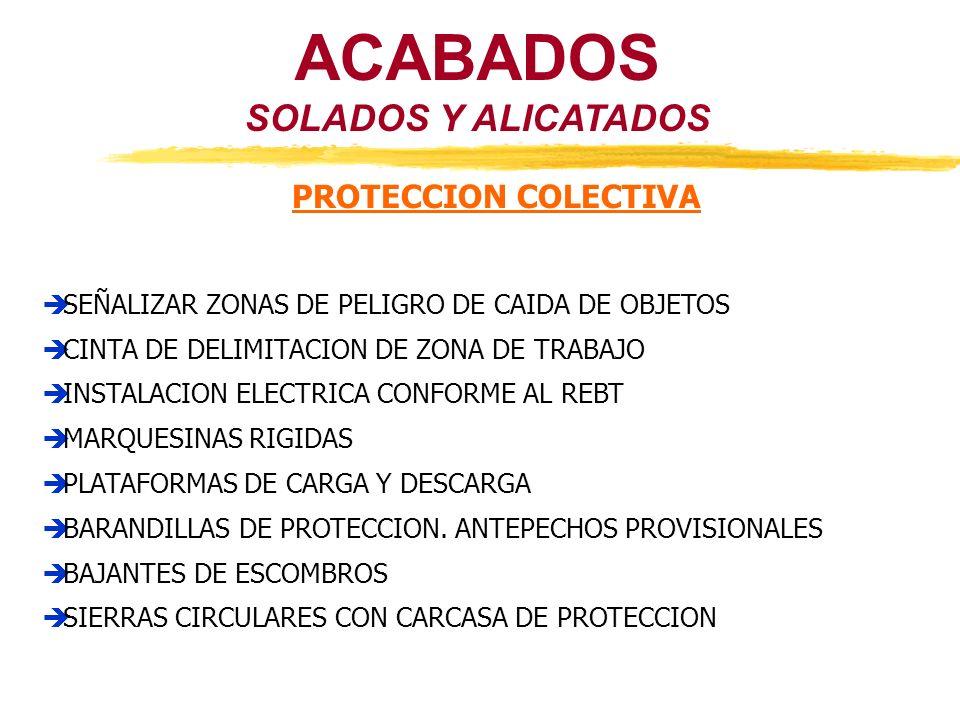 ACABADOS SOLADOS Y ALICATADOS PROTECCION COLECTIVA SEÑALIZAR ZONAS DE PELIGRO DE CAIDA DE OBJETOS CINTA DE DELIMITACION DE ZONA DE TRABAJO INSTALACION