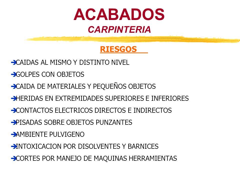 ACABADOS CARPINTERIA RIESGOS CAIDAS AL MISMO Y DISTINTO NIVEL GOLPES CON OBJETOS CAIDA DE MATERIALES Y PEQUEÑOS OBJETOS HERIDAS EN EXTREMIDADES SUPERI