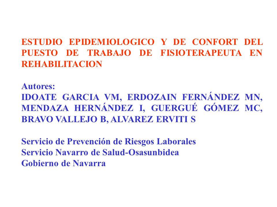 ESTUDIO EPIDEMIOLOGICO Y DE CONFORT DEL PUESTO DE TRABAJO DE FISIOTERAPEUTA EN REHABILITACION Autores: IDOATE GARCIA VM, ERDOZAIN FERNÁNDEZ MN, MENDAZ