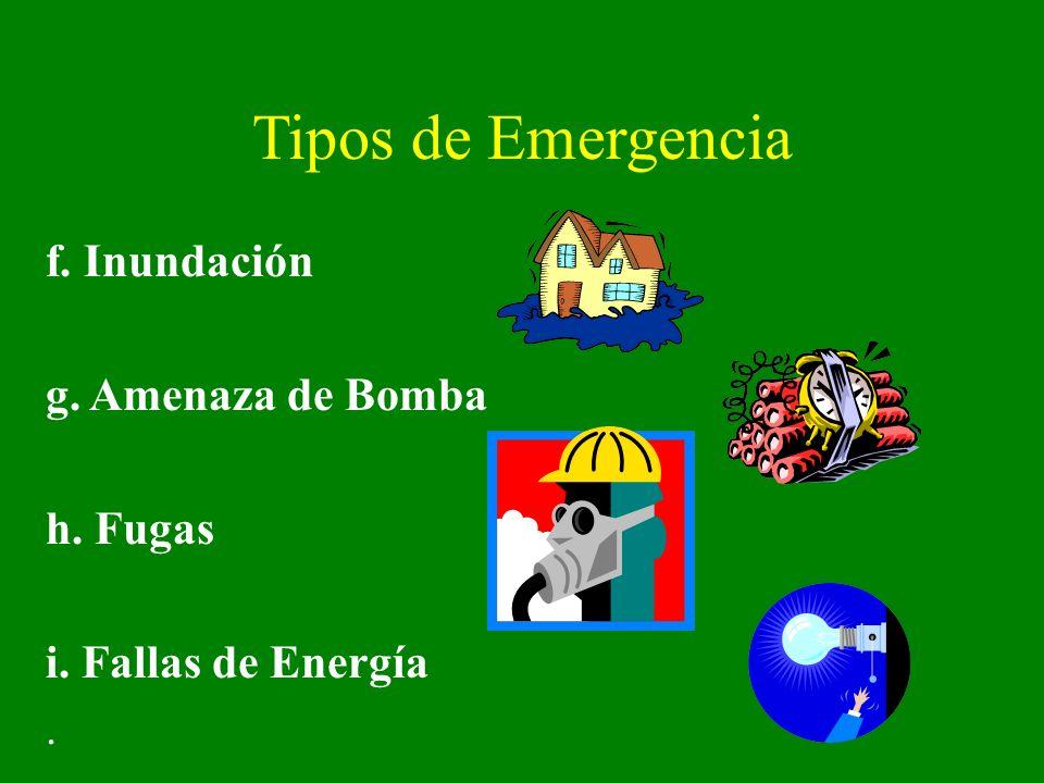 Tipos de Emergencia f. Inundación g. Amenaza de Bomba h. Fugas i. Fallas de Energía.