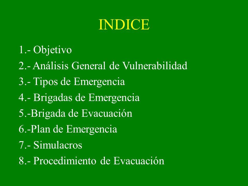 INDICE 1.- Objetivo 2.- Análisis General de Vulnerabilidad 3.- Tipos de Emergencia 4.- Brigadas de Emergencia 5.-Brigada de Evacuación 6.-Plan de Emer