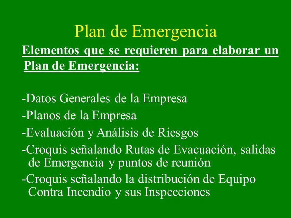 Plan de Emergencia Elementos que se requieren para elaborar un Plan de Emergencia: -Datos Generales de la Empresa -Planos de la Empresa -Evaluación y