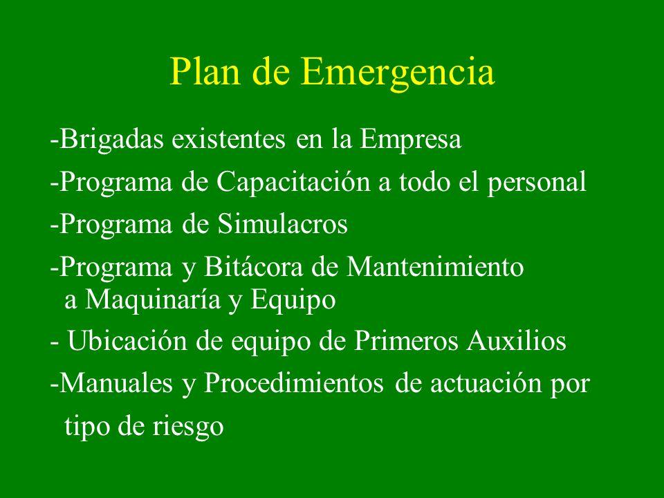 Plan de Emergencia -Brigadas existentes en la Empresa -Programa de Capacitación a todo el personal -Programa de Simulacros -Programa y Bitácora de Man