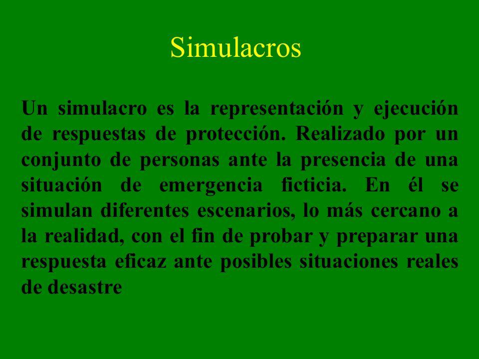 Simulacros Un simulacro es la representación y ejecución de respuestas de protección. Realizado por un conjunto de personas ante la presencia de una s