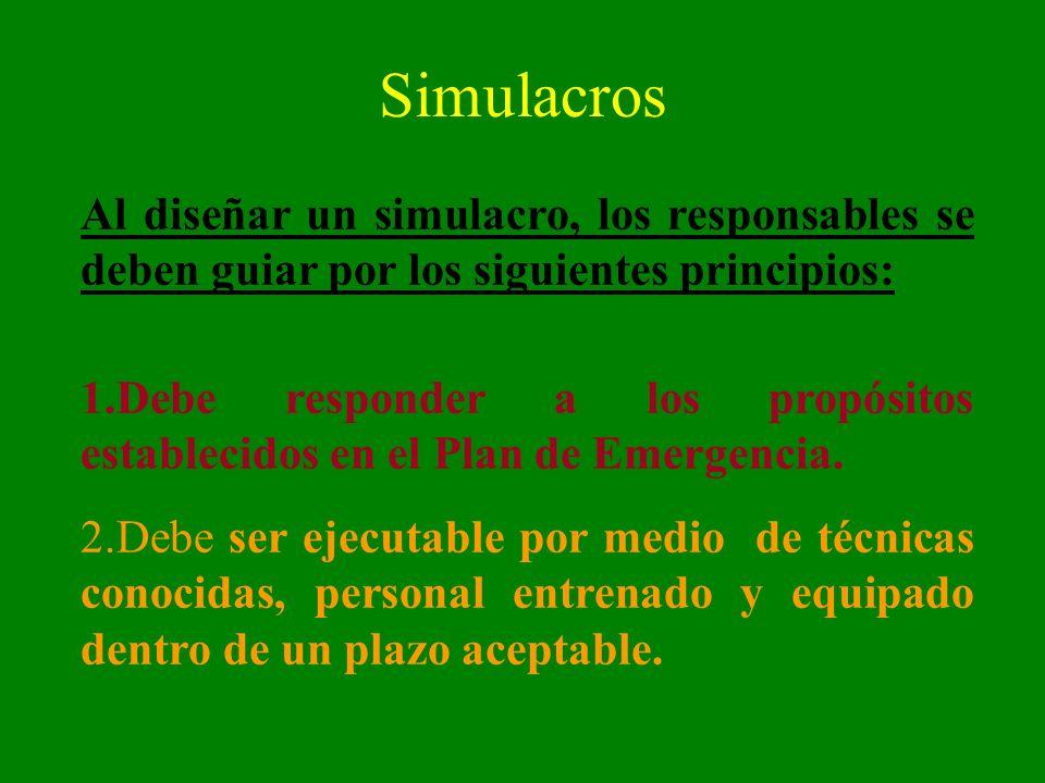 Simulacros Al diseñar un simulacro, los responsables se deben guiar por los siguientes principios: 1.Debe responder a los propósitos establecidos en e