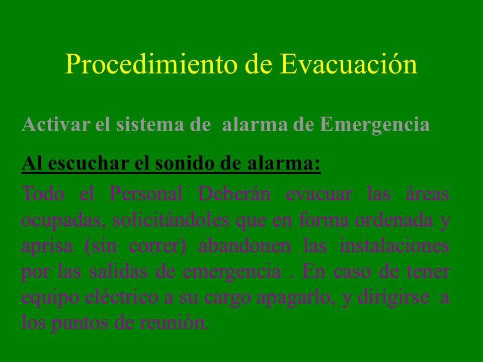 Procedimiento de Evacuación Activar el sistema de alarma de Emergencia Al escuchar el sonido de alarma: Todo el Personal Deberán evacuar las áreas ocu
