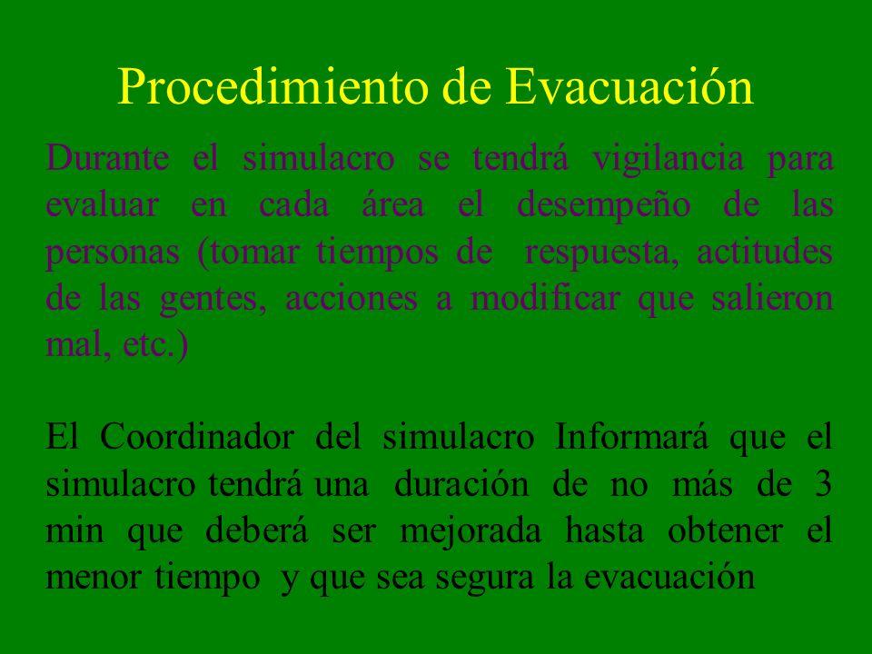 Procedimiento de Evacuación Durante el simulacro se tendrá vigilancia para evaluar en cada área el desempeño de las personas (tomar tiempos de respues