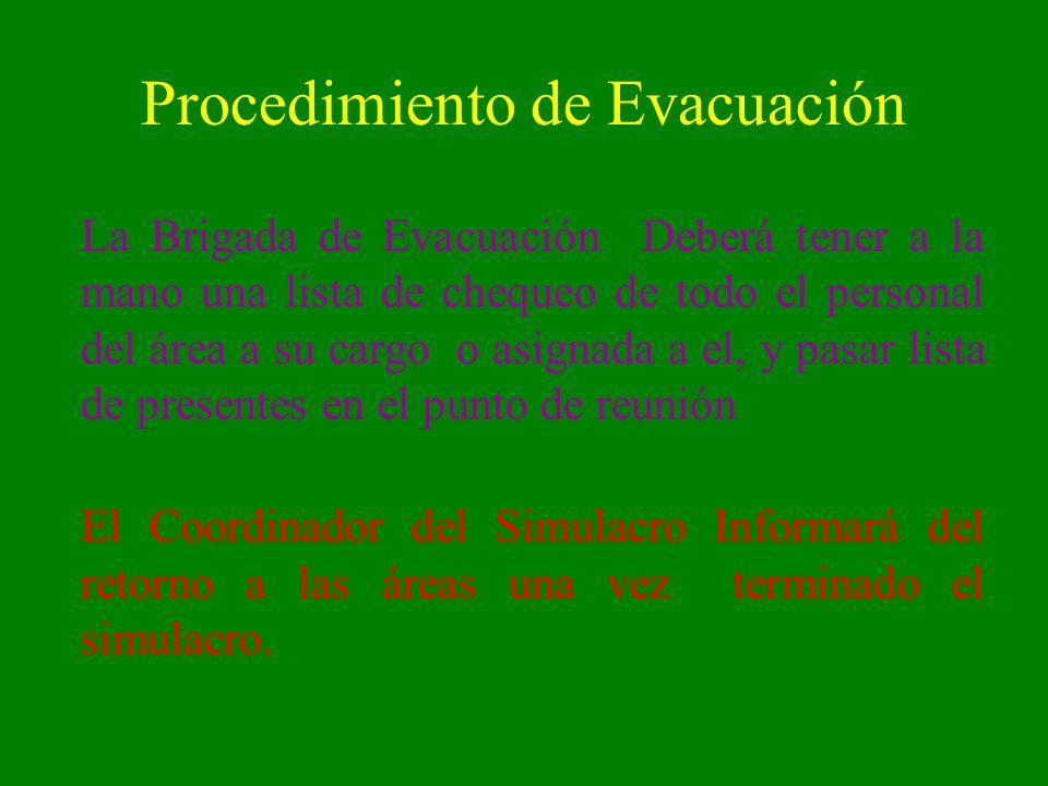 Procedimiento de Evacuación La Brigada de Evacuación Deberá tener a la mano una lista de chequeo de todo el personal del área a su cargo o asignada a