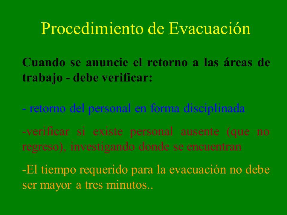 Procedimiento de Evacuación Cuando se anuncie el retorno a las áreas de trabajo - debe verificar: - retorno del personal en forma disciplinada -verifi
