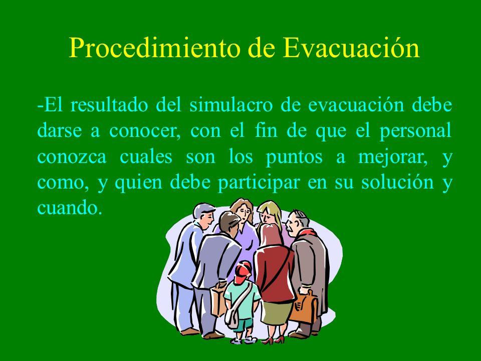 Procedimiento de Evacuación -El resultado del simulacro de evacuación debe darse a conocer, con el fin de que el personal conozca cuales son los punto
