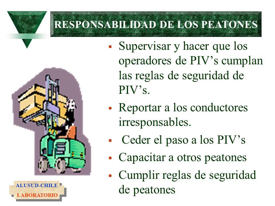 Supervisar y hacer que los operadores de PIVs cumplan las reglas de seguridad de PIVs. Reportar a los conductores irresponsables. Ceder el paso a los