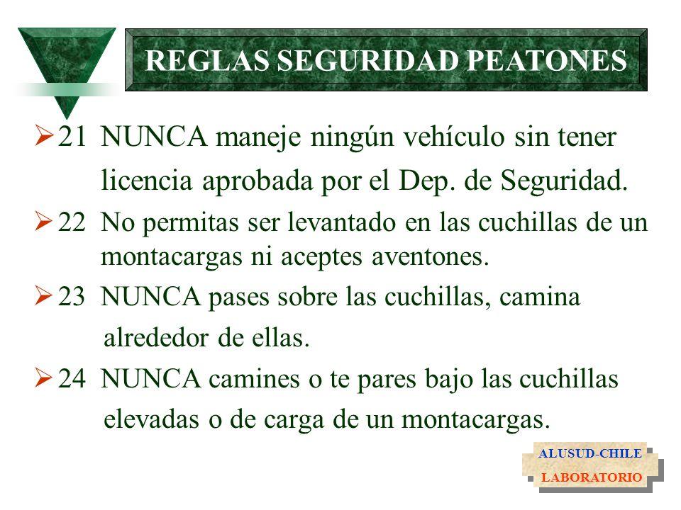 21NUNCA maneje ningún vehículo sin tener licencia aprobada por el Dep. de Seguridad. 22No permitas ser levantado en las cuchillas de un montacargas ni