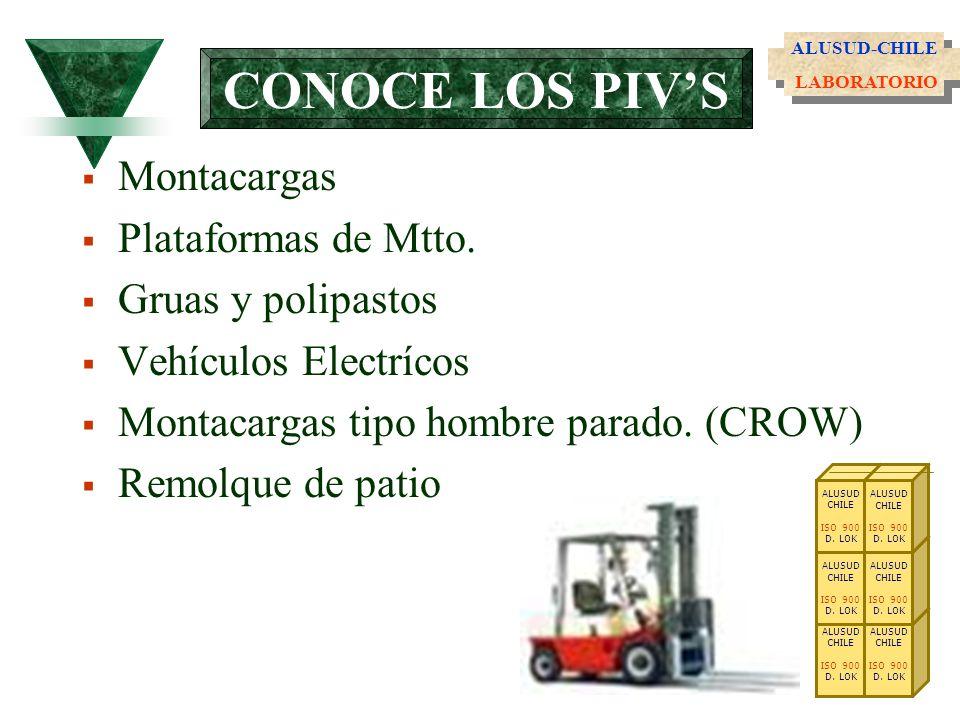 CONOCE LOS PIVS Montacargas Plataformas de Mtto. Gruas y polipastos Vehículos Electrícos Montacargas tipo hombre parado. (CROW) Remolque de patio ALUS