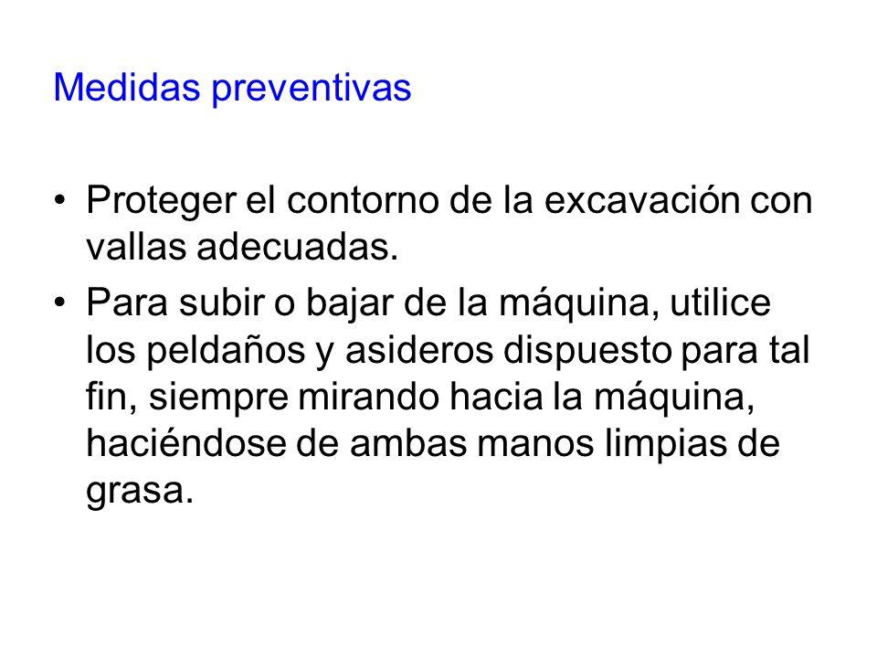 Medidas preventivas Proteger el contorno de la excavación con vallas adecuadas. Para subir o bajar de la máquina, utilice los peldaños y asideros disp