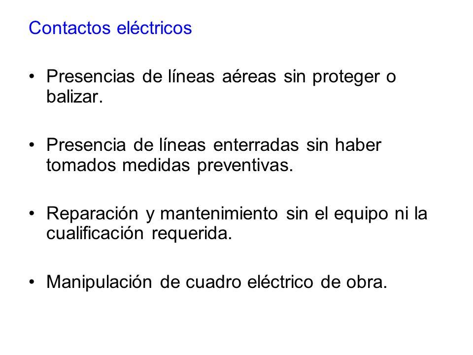 Contactos eléctricos Presencias de líneas aéreas sin proteger o balizar. Presencia de líneas enterradas sin haber tomados medidas preventivas. Reparac