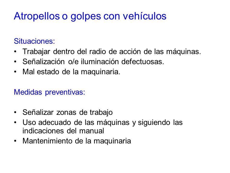 Atropellos o golpes con vehículos Situaciones: Trabajar dentro del radio de acción de las máquinas. Señalización o/e iluminación defectuosas. Mal esta