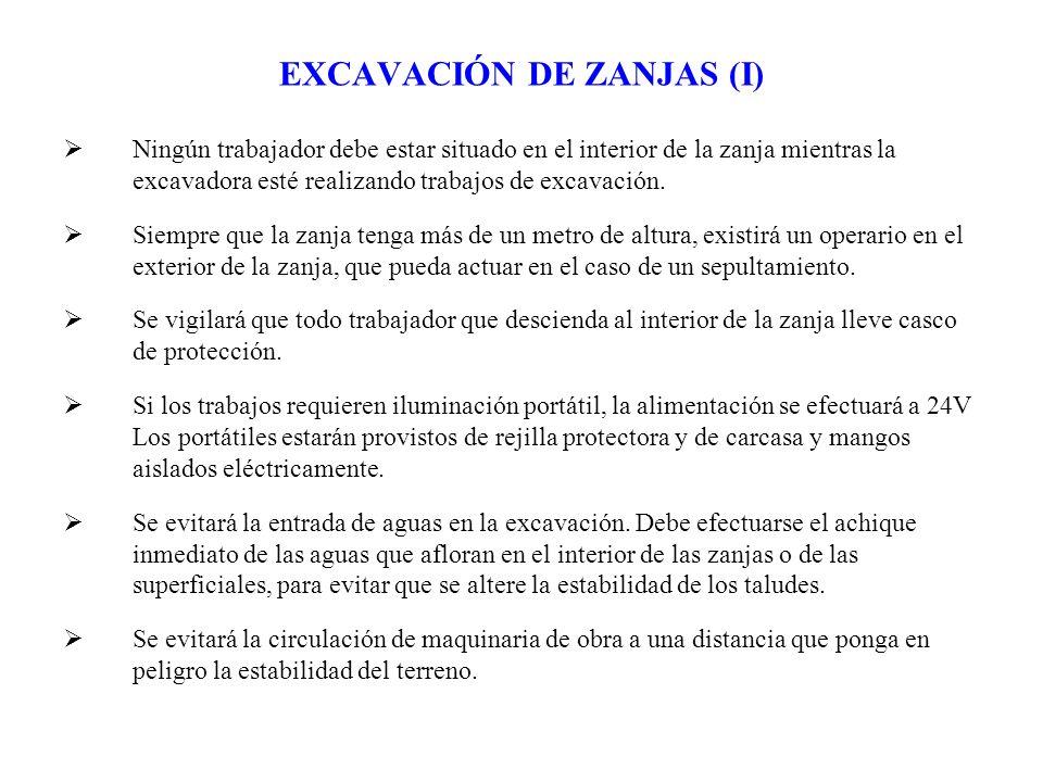 EXCAVACIÓN DE ZANJAS (I) Ningún trabajador debe estar situado en el interior de la zanja mientras la excavadora esté realizando trabajos de excavación