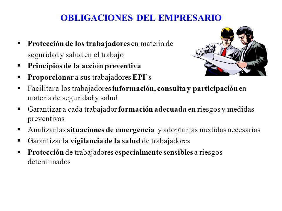 OBLIGACIONES DEL EMPRESARIO Protección de los trabajadores en materia de seguridad y salud en el trabajo Principios de la acción preventiva Proporcion