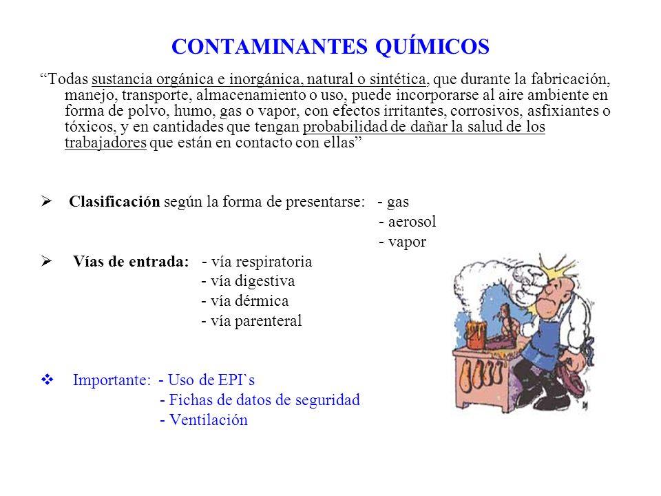 CONTAMINANTES QUÍMICOS Todas sustancia orgánica e inorgánica, natural o sintética, que durante la fabricación, manejo, transporte, almacenamiento o us