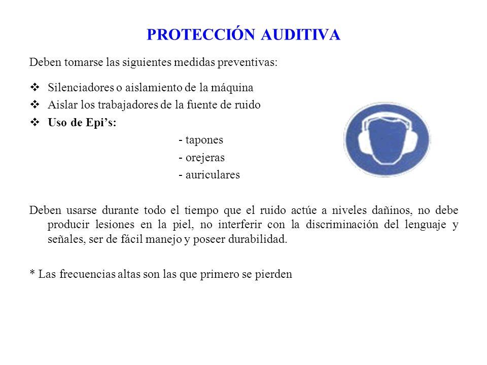 PROTECCIÓN AUDITIVA Deben tomarse las siguientes medidas preventivas: Silenciadores o aislamiento de la máquina Aislar los trabajadores de la fuente d