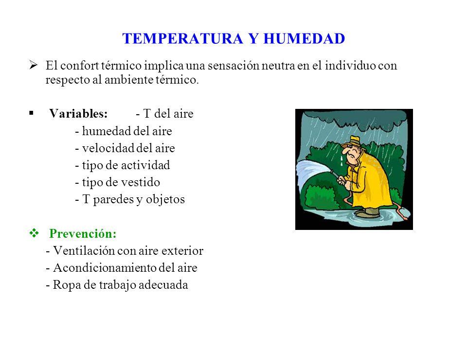 TEMPERATURA Y HUMEDAD El confort térmico implica una sensación neutra en el individuo con respecto al ambiente térmico. Variables: - T del aire - hume