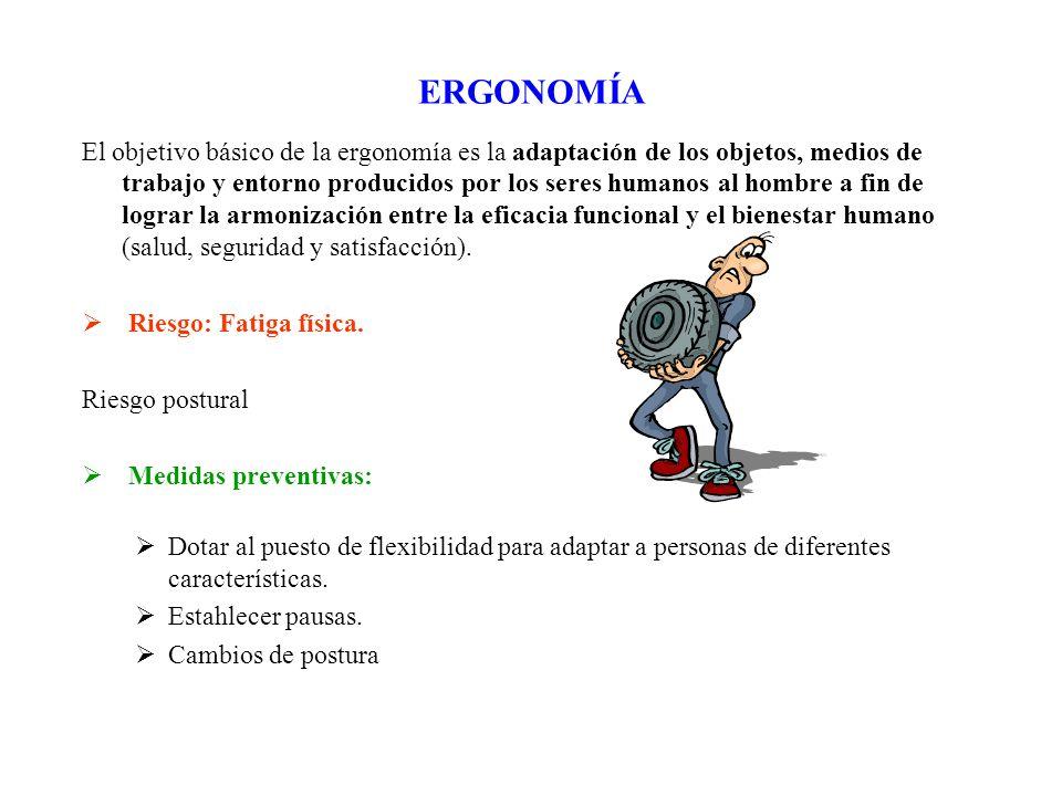 ERGONOMÍA El objetivo básico de la ergonomía es la adaptación de los objetos, medios de trabajo y entorno producidos por los seres humanos al hombre a