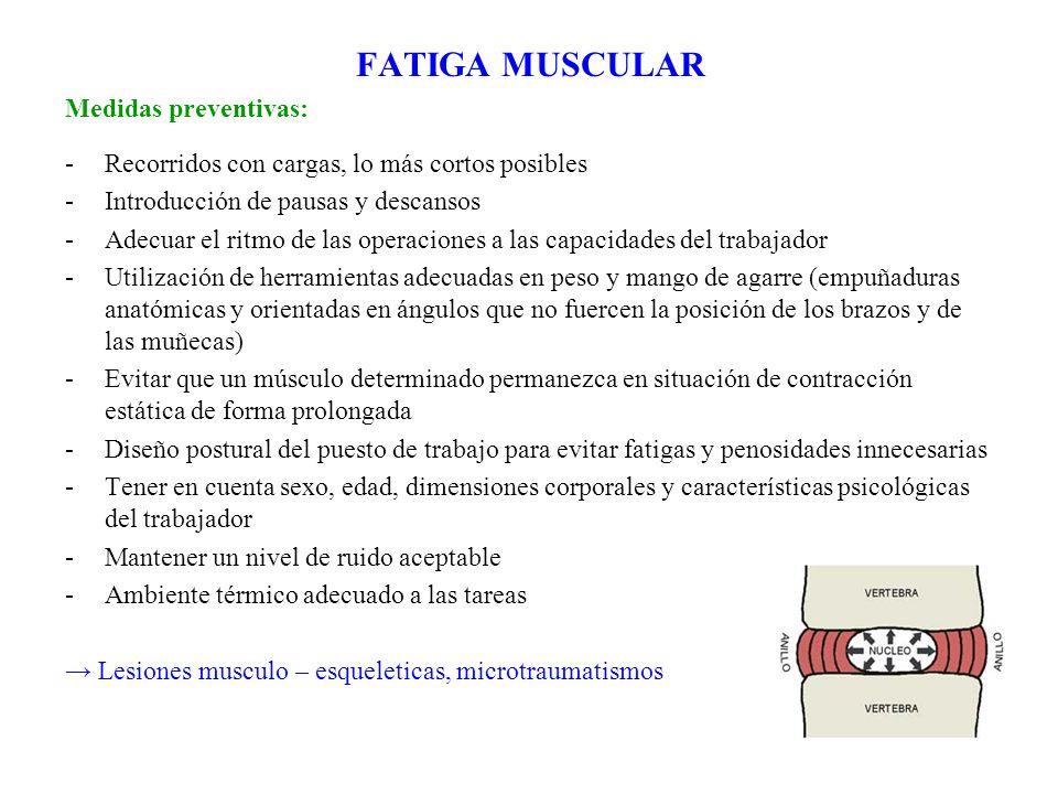 FATIGA MUSCULAR Medidas preventivas: -Recorridos con cargas, lo más cortos posibles -Introducción de pausas y descansos -Adecuar el ritmo de las opera