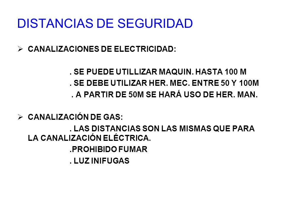 DISTANCIAS DE SEGURIDAD CANALIZACIONES DE ELECTRICIDAD:. SE PUEDE UTILLIZAR MAQUIN. HASTA 100 M. SE DEBE UTILIZAR HER. MEC. ENTRE 50 Y 100M. A PARTIR